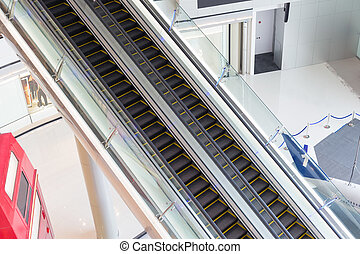 現代, 電動扶梯, 在, 購物, center.