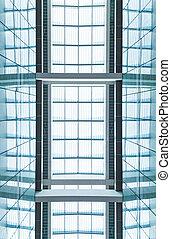 現代, 青いガラス, roof., 抽象的, バックグラウンド。