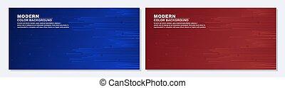 現代, 青, セット, 旗, ベクトル, red.