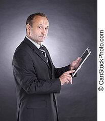 現代, 黒い背景, デジタル, ビジネスマン, tablet.isolated
