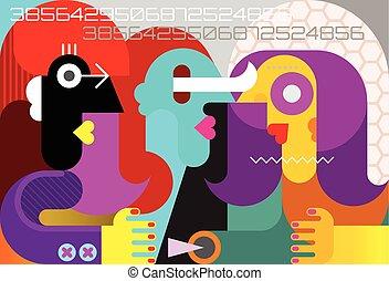 現代, 3人の女性たち