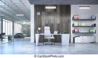 現代, 3d, イラスト, オフィス, interior.