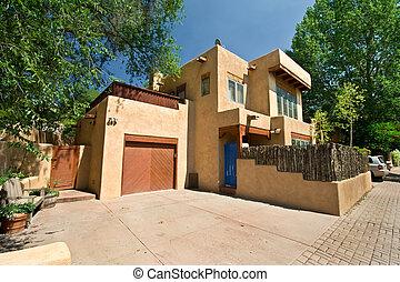 現代, adobe, 一つのファミリー, 家, サンタフェ, ニューメキシコ