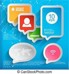 現代, bubbles., infographic, スピーチ, テンプレート, 6