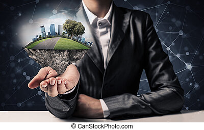 現代, eco, 友好, 城市, 以及, 生態學, concepts.