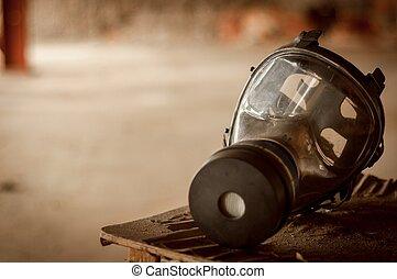 現代, gasmask, 部屋