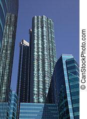 現代, highrise, 建物, 中に, ダウンタウンに
