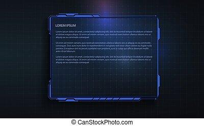 現代, interface., スクリーン, game., panel., 高く, hud, 制御, ユーザー, 技術, サイエンスフィクション, ビデオ, 感触, 概念, 未来派
