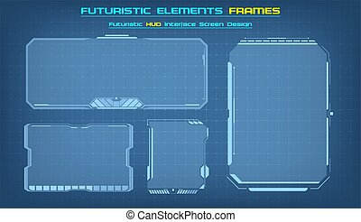 現代, interface., fi, sci, インターフェイス, フレーム, set., ダッシュボード, ベクトル, illustration., hud, 広場, ブロック, ユーザー, 技術, 背景, 未来派