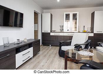 現代, livingroom, 家具