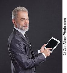 現代, tablet.isolated, デジタルバックグラウンド, 使うこと, ビジネスマン, 黒
