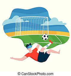 現代, vr, デザイン, 事実上, ピッチ, スタイル, 概念, -, 隔離された, football., 現実, バックグラウンド。, 3d, 身に着けていること, 平ら, カラフルである, フットボール, ガラス, イラスト, ゲーム, white., 漫画, 人, 男の子, ベクトル, 遊び