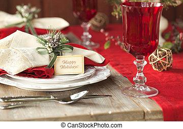 現場, フォーカス, 無作法, 食事をする, 精選する, テーブル, クリスマス