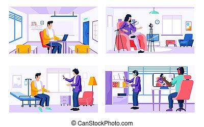 現場, 映画, technologies., 人々, 4, topic, デジタル, セット, 仕事, レコード, 現代