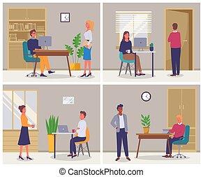 現場, 生活, 4, 仕事, 特徴, セット, workplace., オフィス, businesspeople, ビジネス