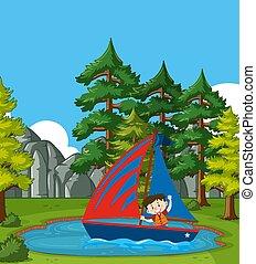 現場, 背景, 小さい 男の子, 公園, 航海