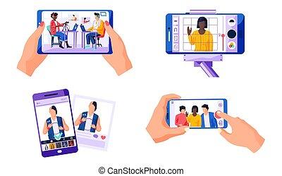 現場, smartphone., 4, 映画, 現代, レコード, 使うこと, セット, 人々, 仕事, 技術, デジタル