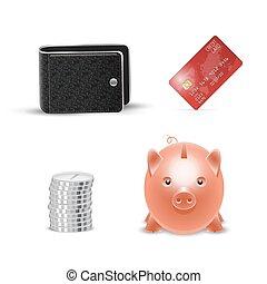 現実的, お金, カード, 札入れ, クレジット, ベクトル