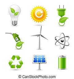 現実的, エネルギー, エコロジー, セット, アイコン
