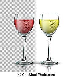 現実的, ガラス, ベクトル, 白い赤, ワイン