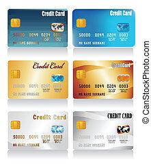 現実的, クレジット, ベクトル, カード