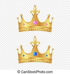 現実的, セット, 王冠, 3d, 金