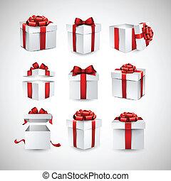 現実的, セット, 贈り物, boxes., 3d