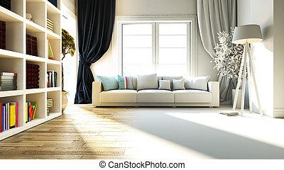 現実的, デザイン, 本棚, 部屋, 席, 暮らし, 内部, レンダリング, 3d