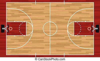 現実的, バスケットボール, イラスト, 法廷