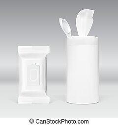 現実的, パック, wipes, ぬれた, プラスチック