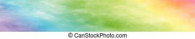 現実的, パノラマである, 手ざわり, 水彩画, 白い背景, 虹