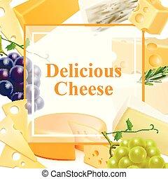 現実的, フレーム, 背景, チーズ