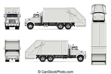 現実的, ベクトル, トラック, ごみ, mockup