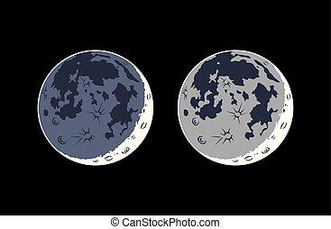 現実的, ベクトル, earthshine, 月