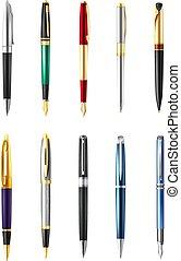 現実的, ペン, セット, ビジネス, アイコン