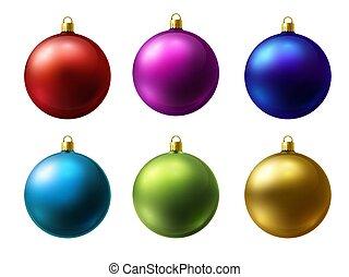 現実的, マット, ボール, ベクトル, 白, 有色人種, クリスマス, セット, 背景