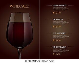 現実的, メニュー, ガラス, 赤, テンプレート, カード, ワイン