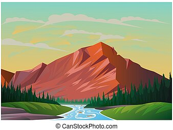 現実的, 山, イラスト, 景色。