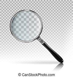 現実的, 拡大鏡, 上に, a, 透明, 背景