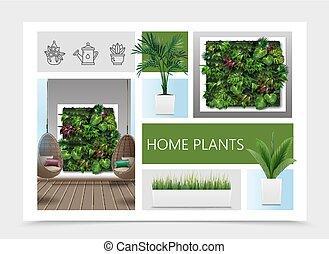 現実的, 構成, 家, 植物