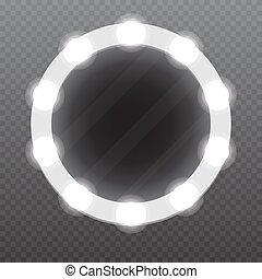 現実的, 構造ミラー, ∥で∥, bulbs., ベクトル, illustration.