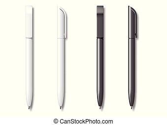 現実的, 白, セット, 黒, pen.