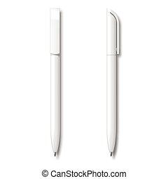 現実的, 白, セット, pen.