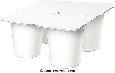 現実的, 白, 容器, プラスチック