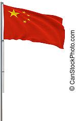 現実的, 背景, 風, 白旗, 振ること, 中国語, 3d, レンダリング