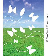 現実的, 蝶, ベクトル, 緑の草