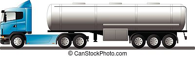 現実的, 隔離された, タンク, テンプレート, トラック, white., ベクトル