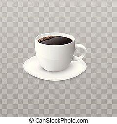現実的, 黒, illustration., コーヒーカップ, ベクトル, 隔離された, 白, -