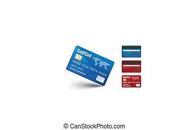 現実的, 2, クレジット, ベクトル, 側, カード