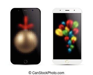 現実的, concept., smartphone